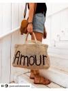 Bolso Amour natural y azul pequeño