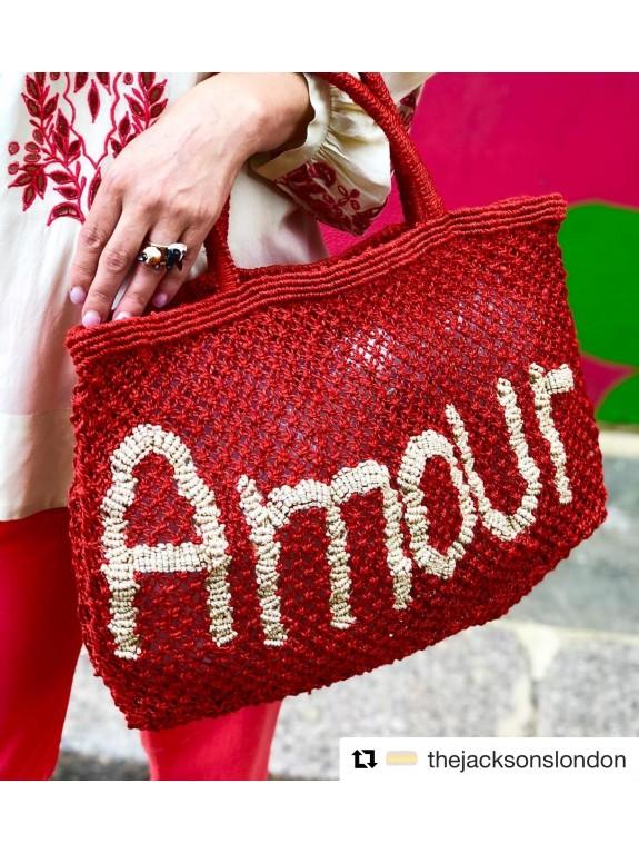 Bolso Amour rojo y natural pequeño