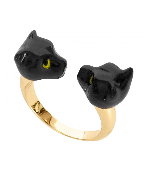 Double black panther ring