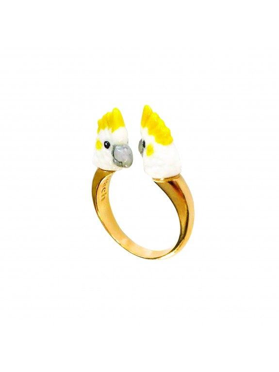 Anillo Cacatua blanco doble