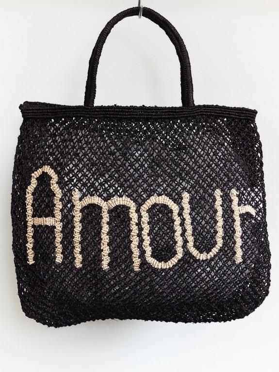 Bolso Amour negro y natural pequeño