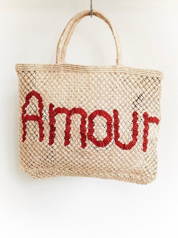 Bolso Amour natural y rojo grande