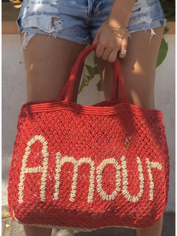 Bolso Amour rojo y natural grande