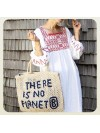 Bolso There is no Planet B natural y azul grande