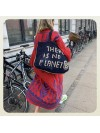 Bolso There is no Planet B azul y natural grande