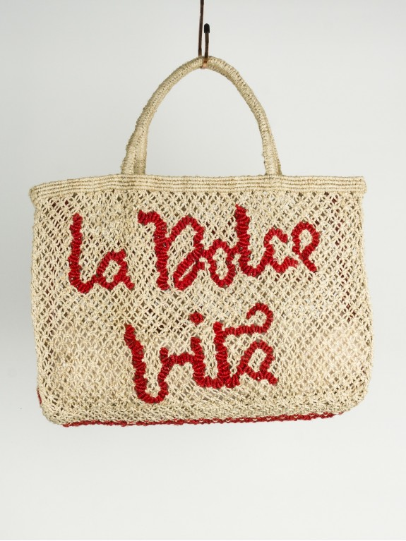 La Dolce Vita small bag natural and red