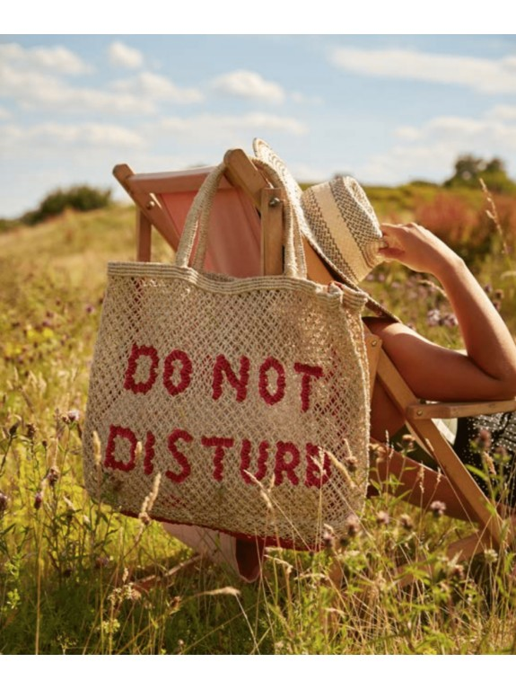 Bolso Do not disturb natural, rosa y rojo grande