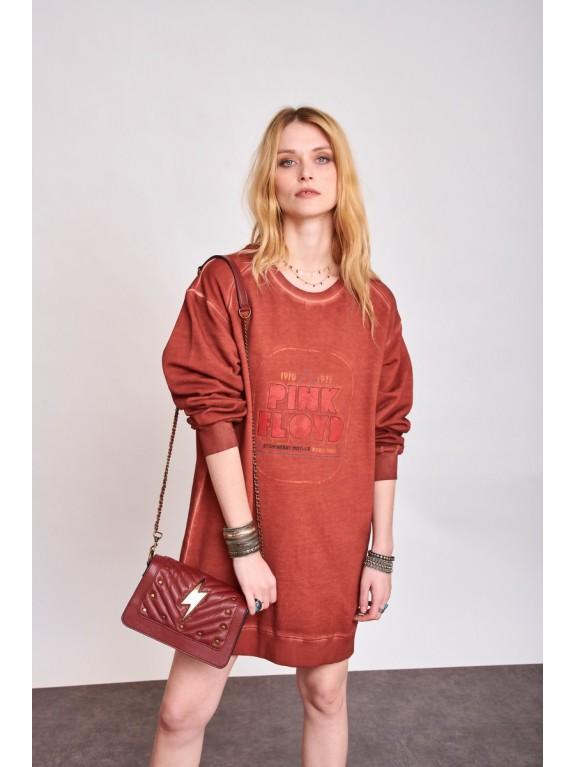 Sabri Pink Floyd Sweatshirt Dress tile red