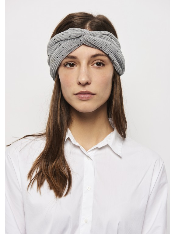 Diadema tipo turbante Dot gris