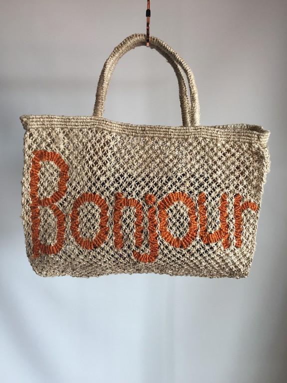Bolso Bonjour natural y naranja pequeño